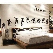 Autocollant Mural noir Simple bricolage M003   Étiquette murale, Skateboard, sport, vie Cool, décor artistique, pour chambre denfants