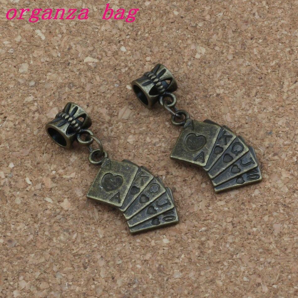 100 pcs/lot Baumeln Alte bronze spielkarten Charme Big Loch Perlen Fit Europäischen Charme Armband Schmuck 13x 36mm A-332a