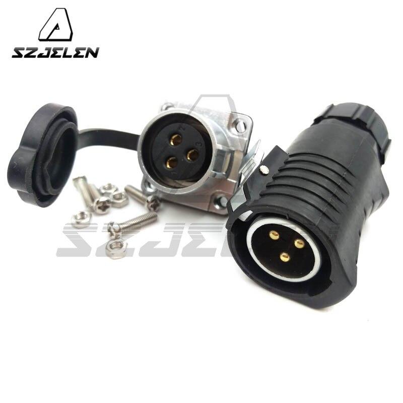 Serie XHP20, conector impermeable de 3 pines, Conector de montura de panel, Conectores eléctricos industriales