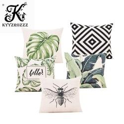 3d folha verde capa de almofada botânico tropical palmeira folhas geométrico preto bege capas de travesseiro quarto sofá decoração