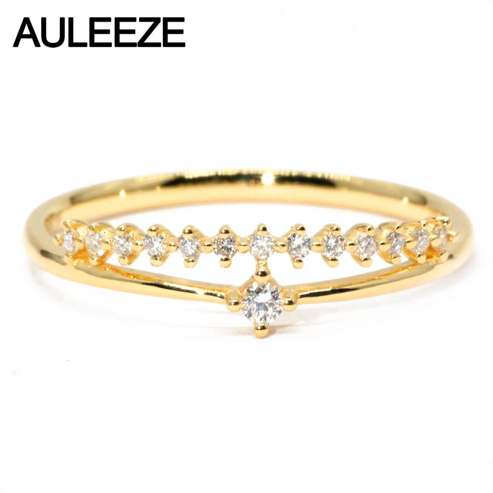 Solid 18k Yellow Gold Wedding Band 0.105ct Natural Diamond Ring Crown Design Simple Ring Real Diamond Jewelry For Women Gift