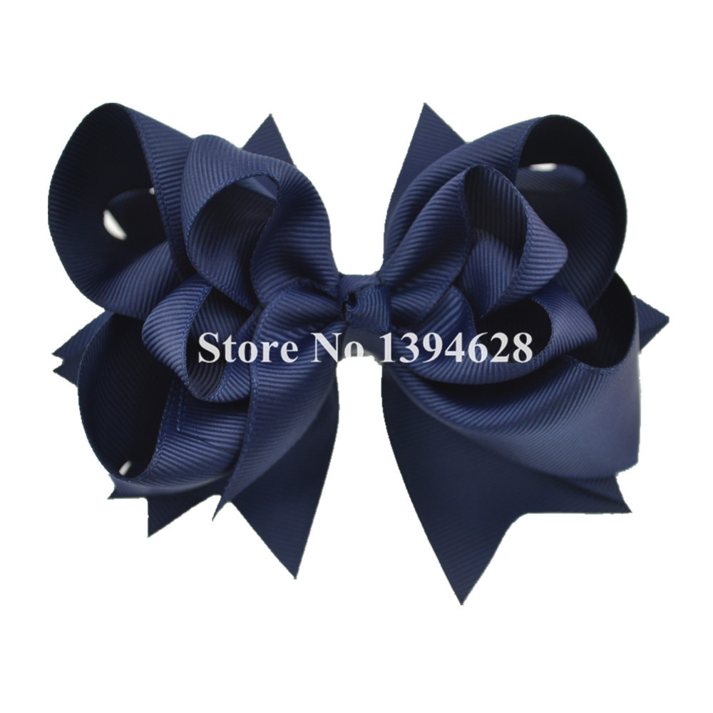 $1/1 Uds 5 pulgadas 3 capas arcos sólidos de la Marina con 6cm Clips cinta de boutique arcos para niñas accesorios para el cabello