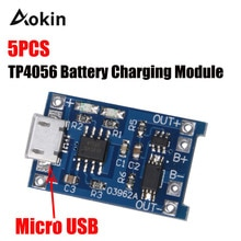 Aokin 5 PCS TP4056 5 V 1A Micro USB 18650 Lithium-Batterie Lade Bord Ladegerät Modul Schutz Dual Funktionen Für Arduino diy
