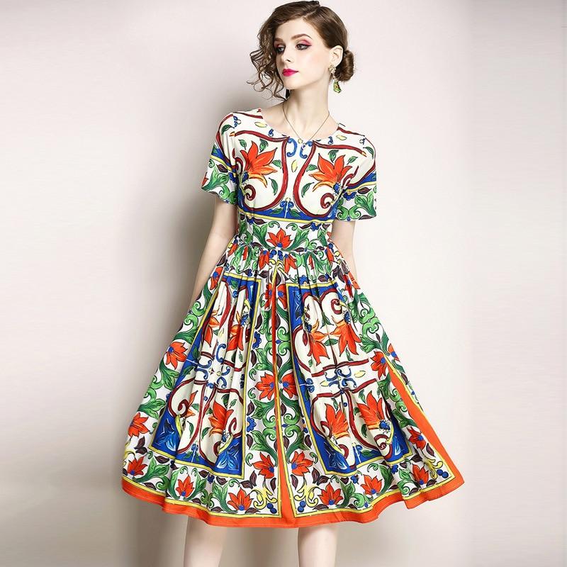 Summer new European and American women's temperament round neck Slim thin large pendulum printing short-sleeved dress explosion enlarge