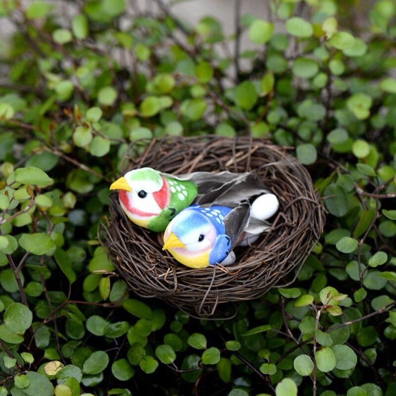 ZOCDOU 8 Stück Bunte Vogel Familie China Garten Modell Kleine Statue Figurine Handwerk Figur Ornament Miniaturen DIY Home Decor