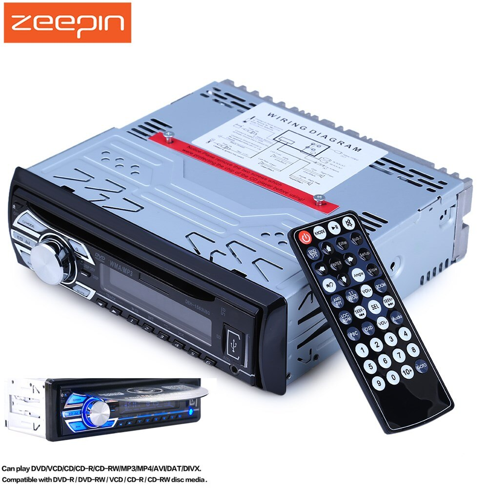 1563U 1 DIN 12 V 12 V de audio de coche Mp3 reproductor de Radio de coche reproductor de CD apoyo FM1 FM2 FM3 tarjeta SD USB AUX DVD VCD con Control remoto