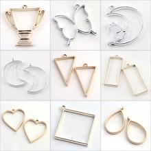 10pcs Rack Plating Alloy Open Back Bezel Pendants DIY Resin Pressed Flower Jewelry Hollow Multiple Pattern DIY Making Necklaces