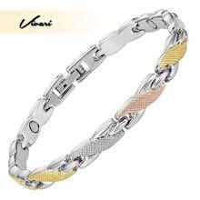Vivari mode femmes Bracelets 3 tons couleurs Rose or argent couleur magnétique Bracelet Femme Ion Bracelet charme