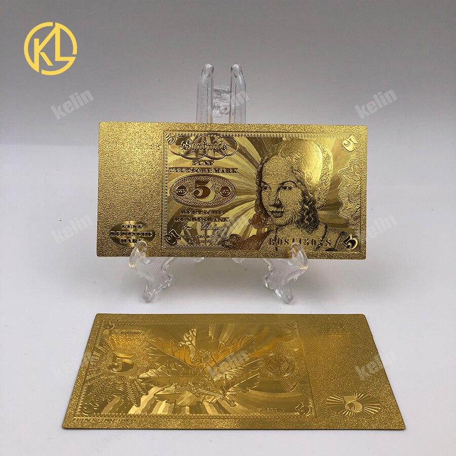 10 шт./лот 5 немецких марок банкнот 99.9% металлическая Золотая фольга банкнота оптовая продажа для ценностной коллекции