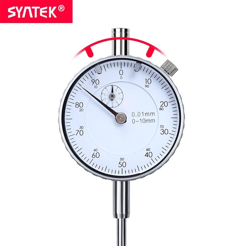 Indicador de Dial Syntek 0-10mm, herramienta de medición analógica industrial de alta precisión de 0,01mm, indicador de Dial métrico, indicador de marcado CE