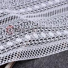 Super Hochwertige weiß/schwarz mesh geometrie muster spitze Bestickten stoff aushöhlen tuch für kleid Afrikanische rock