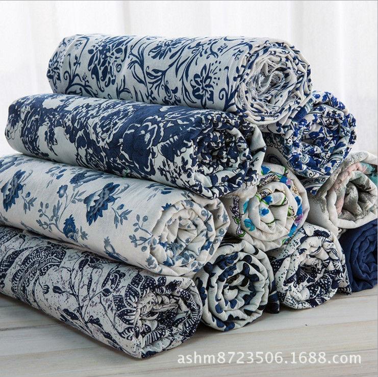 Azul y blanco porcelana estilo ropa vestidos de lino de algodón tela mantel hogar decorativo Tissu textil para coser 2022BL
