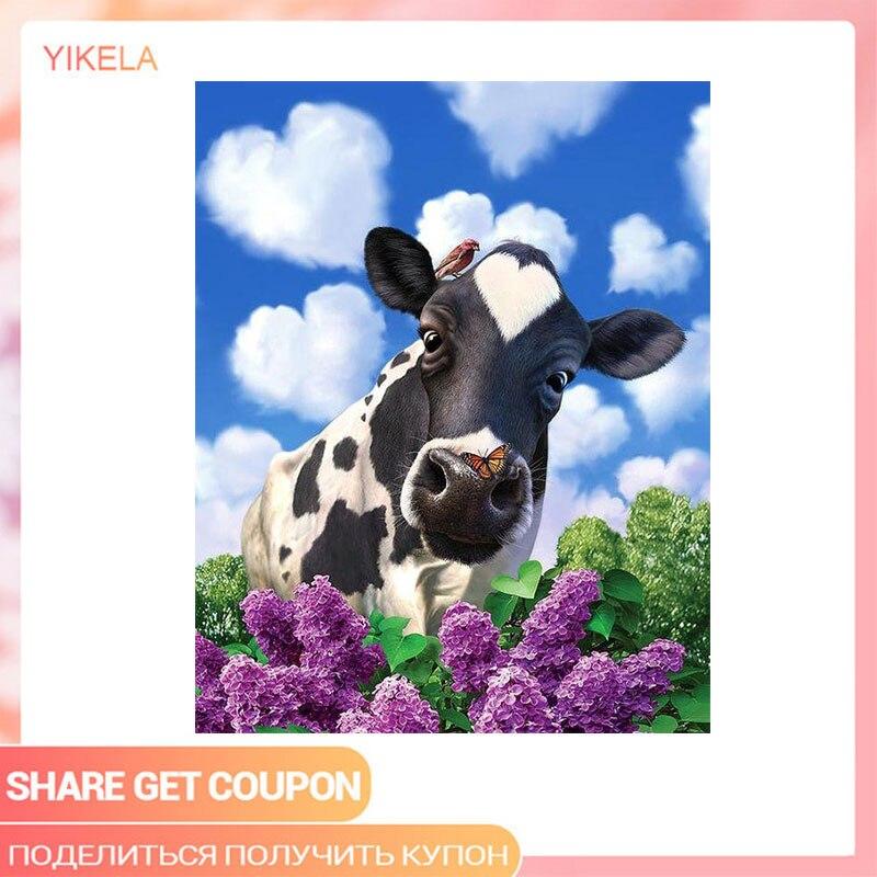 5D taladro completo vaca pintura al óleo DIY Cruz puntada de diamantes de imitación azul cielo pintura de flores, diamantes Kits