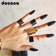 Docona модное черное кольцо для открытия, 3 шт./компл., кольцо на фаланг пальца средней длины, набор для женщин, панк, сплав, кольца для пальцев, украшения в стиле бохо