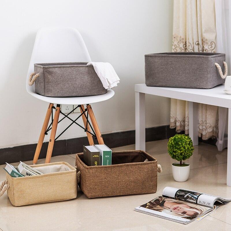 Nueva cesta plegable grande de tela de lino para almacenamiento de juguetes para niños, caja organizadora de Bolsa de Almacenamiento de Ropa con asa