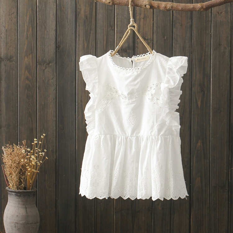 KYQIAO women boho shirt 2020 mori girls summer Japanese style sweet bohemian sleeveless o neck ruffled white solid blouse