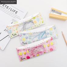 Nova régua conjunto kawaii material escolar qualidade bonito escola ferramentas papelaria criativo dos desenhos animados estudantes ferramentas de papelaria
