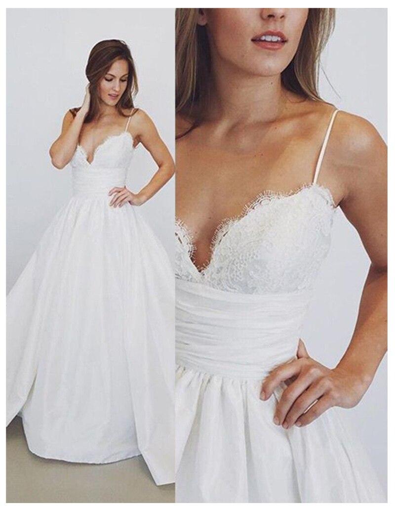 Bohemia boda Vestido Spaghetti Strap una línea blanco largo sin espalda playa apliques de vestido de novia encaje Top novia vestido 2019