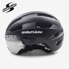 Cairbull ultra-leve em molde adulto bicicleta capacete de corrida tempo-julgamento capacete com óculos aero ultraleve eps + pc lente capacetes