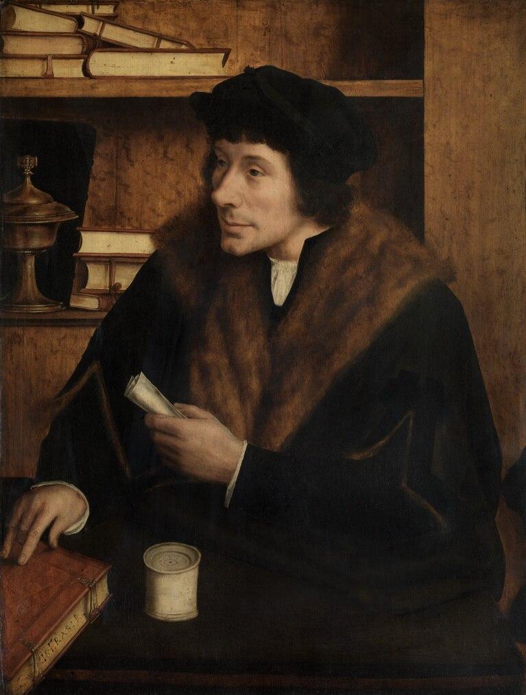 """24 """"TOP ART painting # Holland theólogo Desiderius Erasmus retrato estampado pintura al óleo sobre lienzo-buena calidad"""