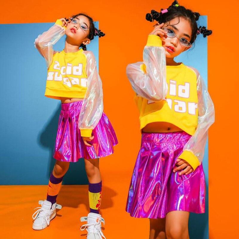 Ropa de chico Hip Hop Casual Tops falda con lentejuelas para niñas niños traje de baile de jazz ropa de baile de salón Streetwear