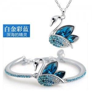 Novedad de 2014, venta al por mayor, conjuntos de joyas de cristal, colgantes de cisne, collares, pulseras, brazaletes clásicos para mujeres y niñas, joyería de regalo, traje