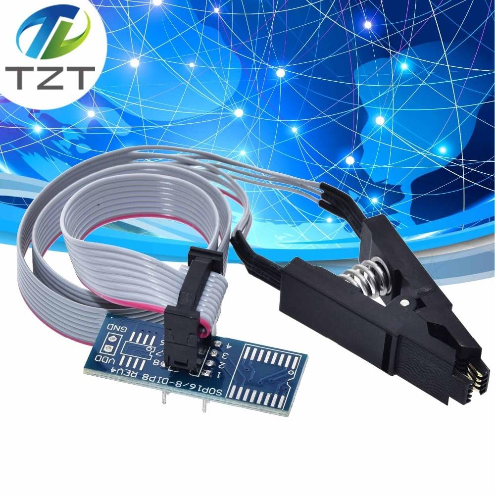 TZT teng SOIC8 SOP8 Chip Flash IC Teste Tomada Clipes Adpter BIOS/24/25/93 Programador para arduino