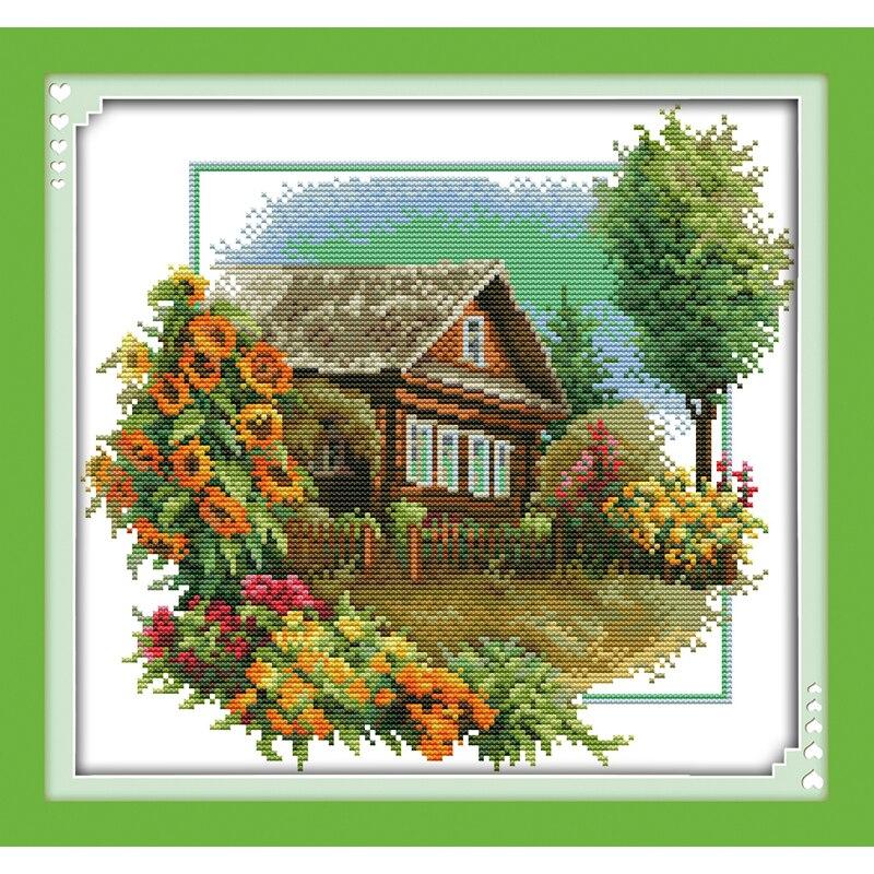 Amor Eterno, casa de Navidad con flores, algodón ecológico, punto de cruz estampado 11CT y 14ct, promociones de tienda nuevas impresas