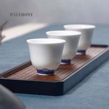 Grande vente! 2 pièces WIZAMONY porcelaine glaçure chinoise bleu-blanc   Kung Fu porcelaine tasse à thé, SaucerTea bol service à thé, tasse à café