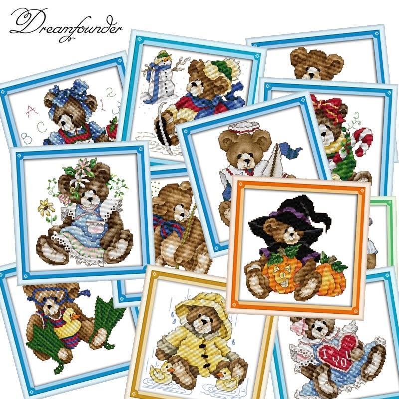12 pattern bears cross stitch kit Christmas cartoon animal bear 14ct 11ct count print canvas embroidery DIY handmade needlework