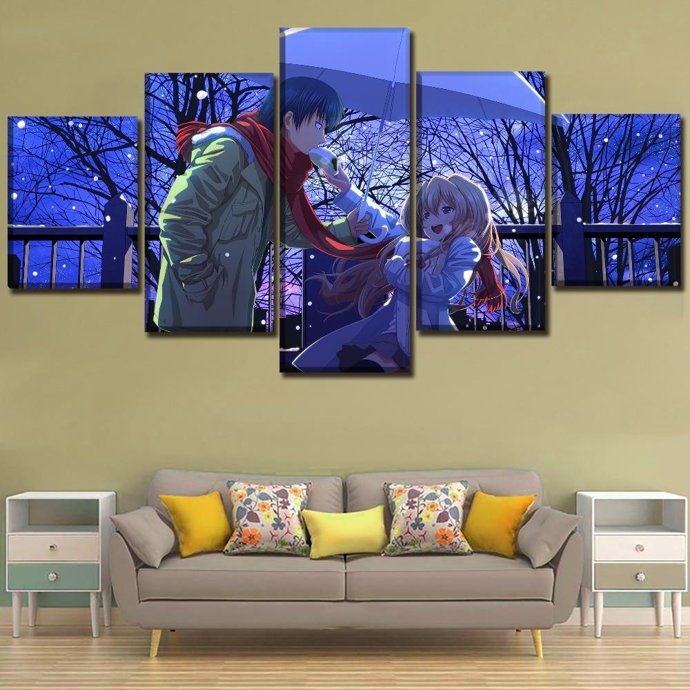 Toradora Anime HD estampado de pinturas en lienzo arte de la pared 5 piezas Poster moderno decorativo decoración del hogar imagen decoración del hogar ilustraciones