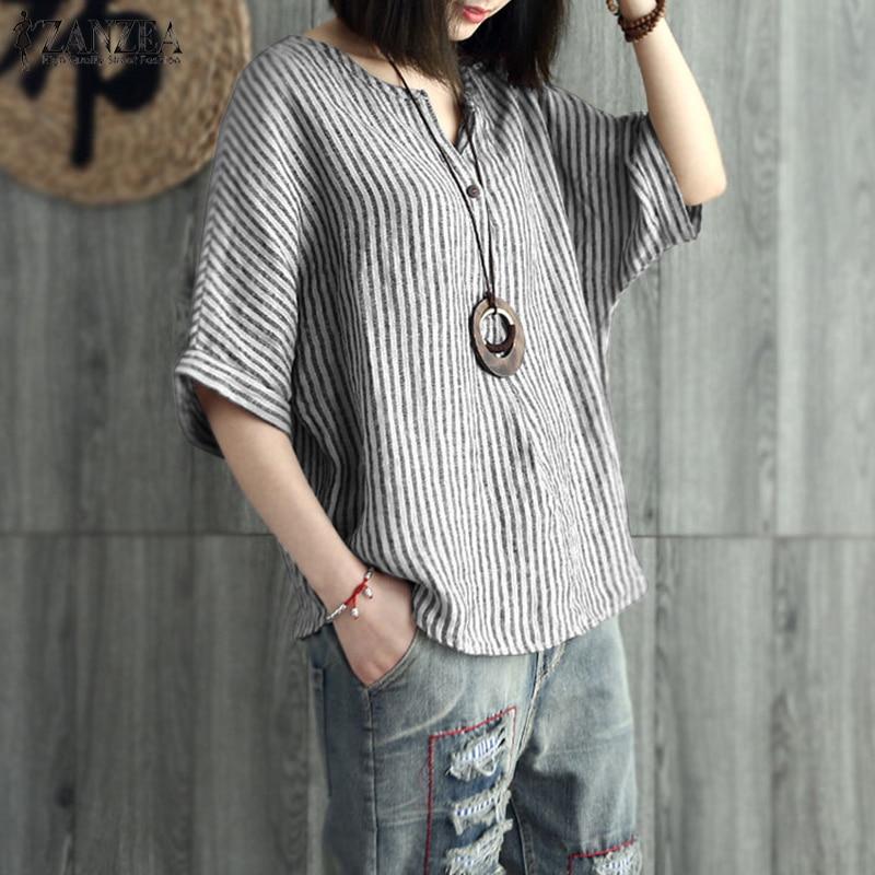 S-5XL zanzea 2020 mulheres verão listrado blusa casual v pescoço manga camisa solto algodão linho trabalho oltop blusas mais tamanho