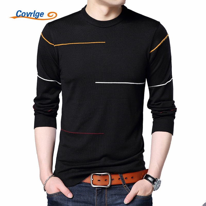 Covrlge New Autumn Mens Sweater Fashion Slimfit Pullover Male Striped Men Brand Clothing Turtle Neck Shirt MZL010
