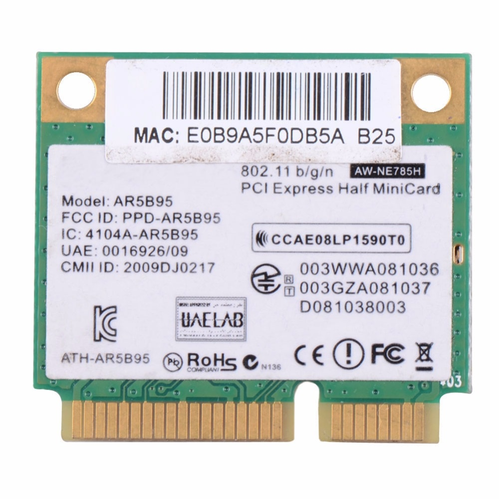 Laptop Placas de Rede AR5B95 AR9285 Wi-fi Metade Mini PCI-E PLACA Wireless 518436-Placas de Rede Do Computador Notebook VCA66 002
