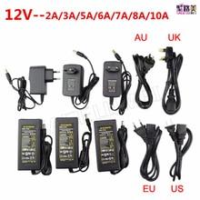DC 12V 1A 2A 3A 5A 6A 7A 8A 10A LED power Adapter For ws2811 / 5050 / 3528 / 6803 LED Strip AC100-240V led Lighting transformers