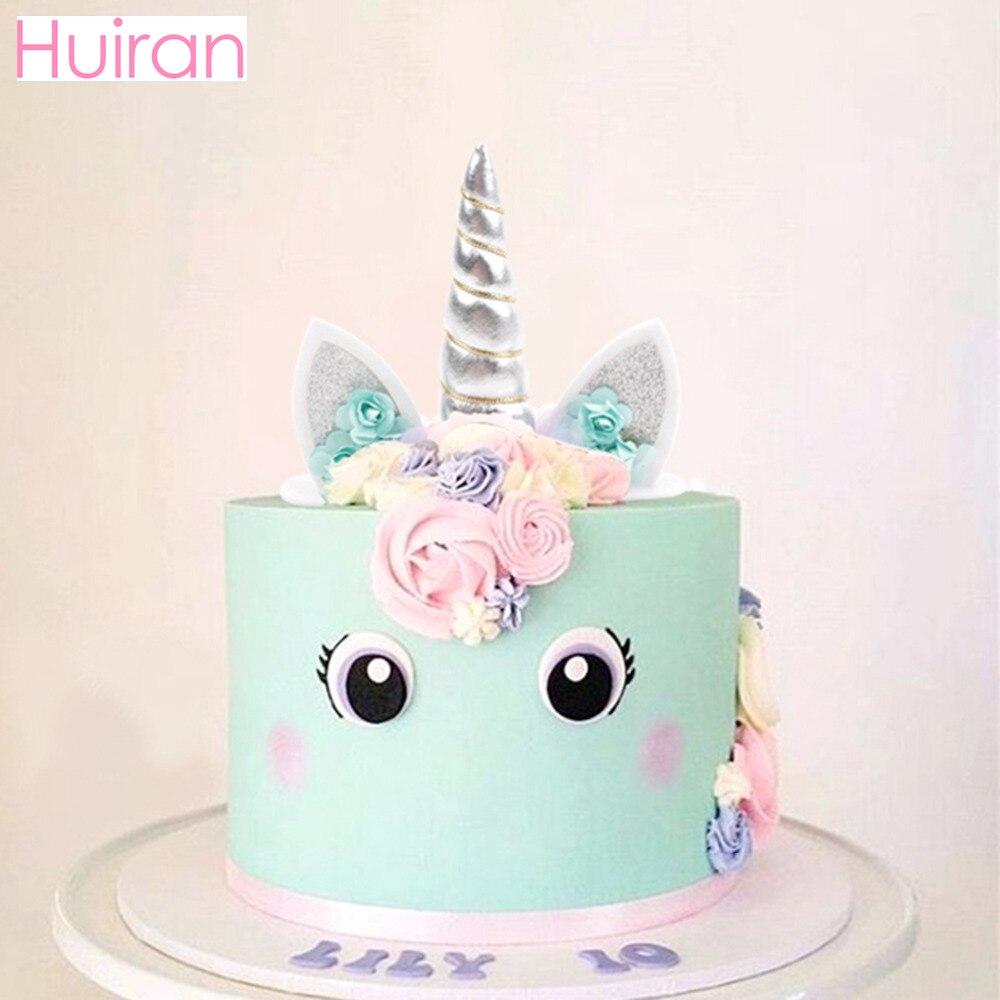 Huiran unicornio cuerno torta Topper unicornio fiesta de cumpleaños decoración niños Favor unicornio accesorios herramientas para decoración de pasteles suministros