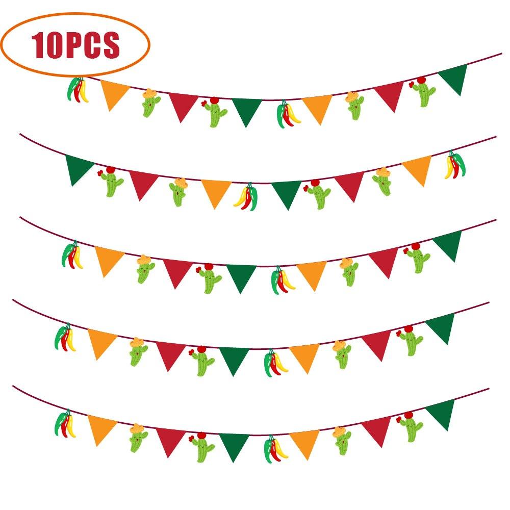 10 pçs/lote Decorações Do Partido Mexicano México Cinco de Mayo Parede Fontes Do Partido Bunting Bandeiras Banners Pendurados Bonito Pimentão Cacto