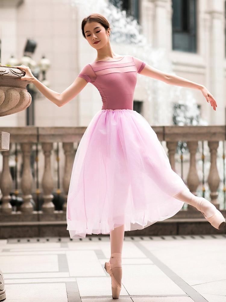 80CM Long Tutu Rose Pink Red White Black Mesh Lace Ballet Skirt Adult Swan Lake Ballerina Dance Tulle Elastic Waist Skirts Tutus