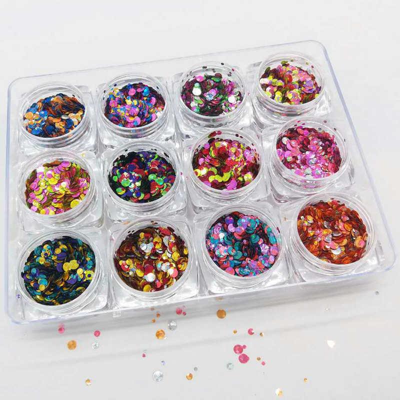12 jarras/Set holográfico metálico con puntos brillantes resistentes a solventes para decoración de uñas * Festival de brillo * 12 colores de brillo grueso