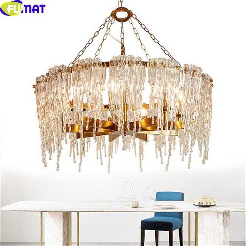 FUMAT LED lustre luminaire glaçon verre Design moderne Suspension lustre luminaria lampe à Suspension pour lampe de salon