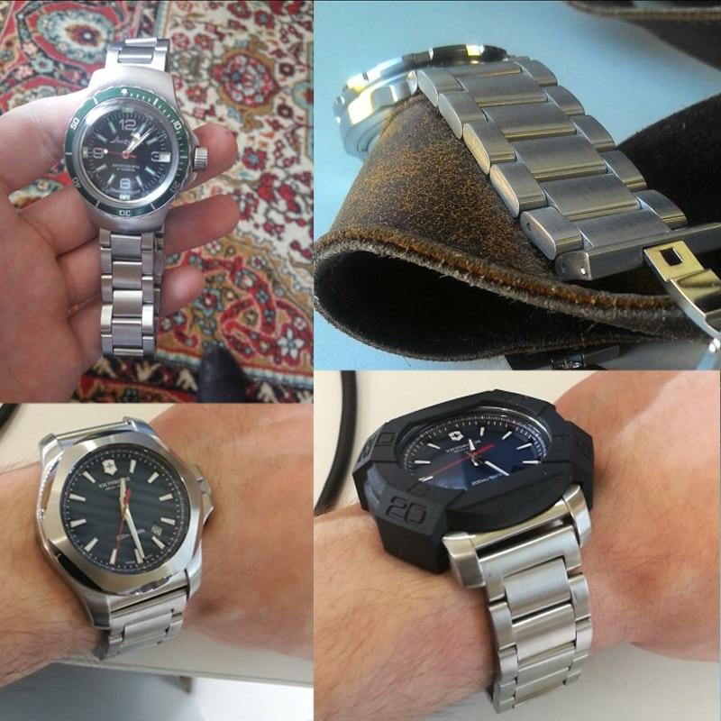 Купить с кэшбэком Stainless Steel Watch Strap Bracelets Men High Quality Silver Metal 18 20 21 22 23 24mm Fashion Women Watchbands Accessories