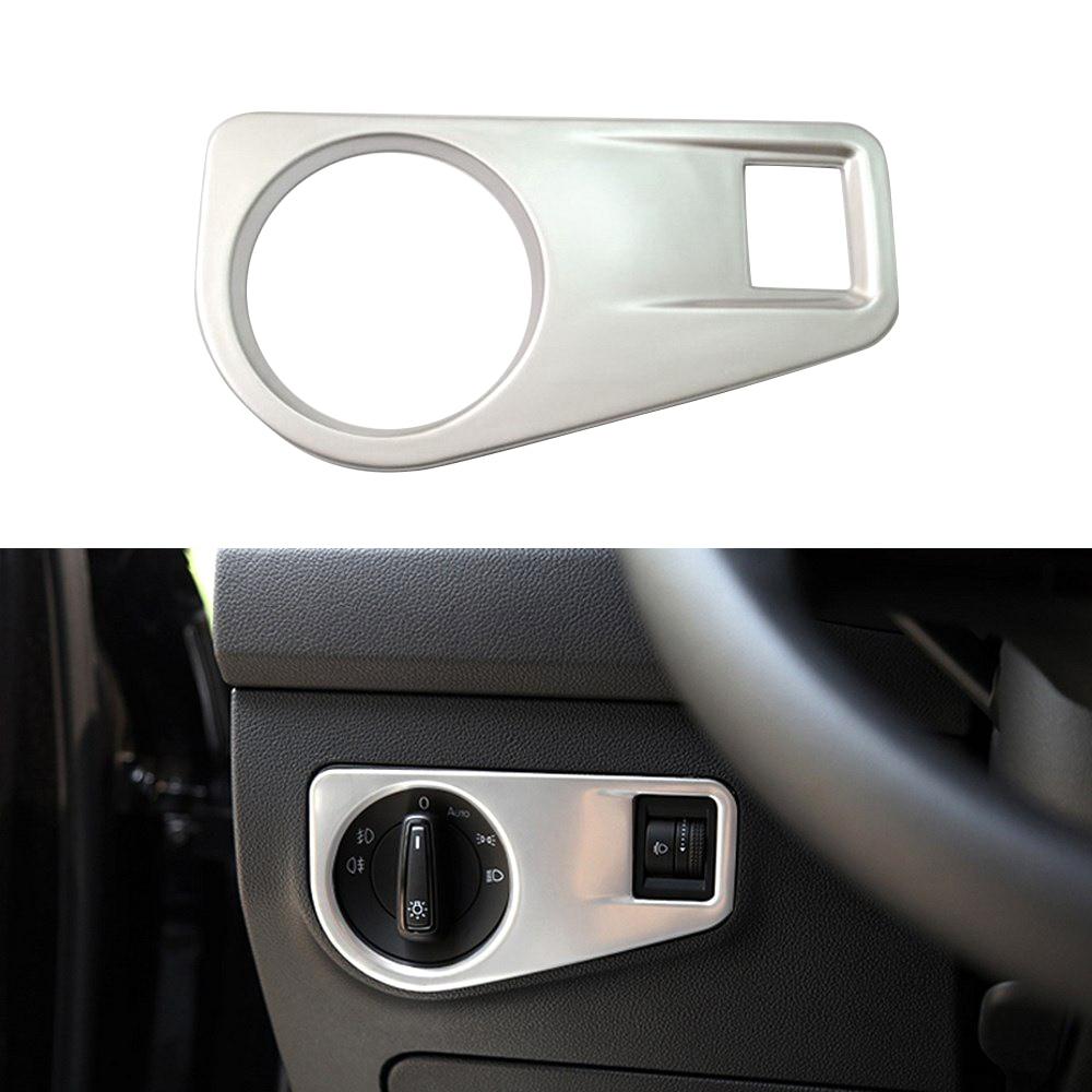1 stücke Auto Scheinwerfer Schalter Rahmen Für Volkswagen Neue Tiguan L 2017 Metall Auto Licht Schalter Abdeckung Innen Aufkleber