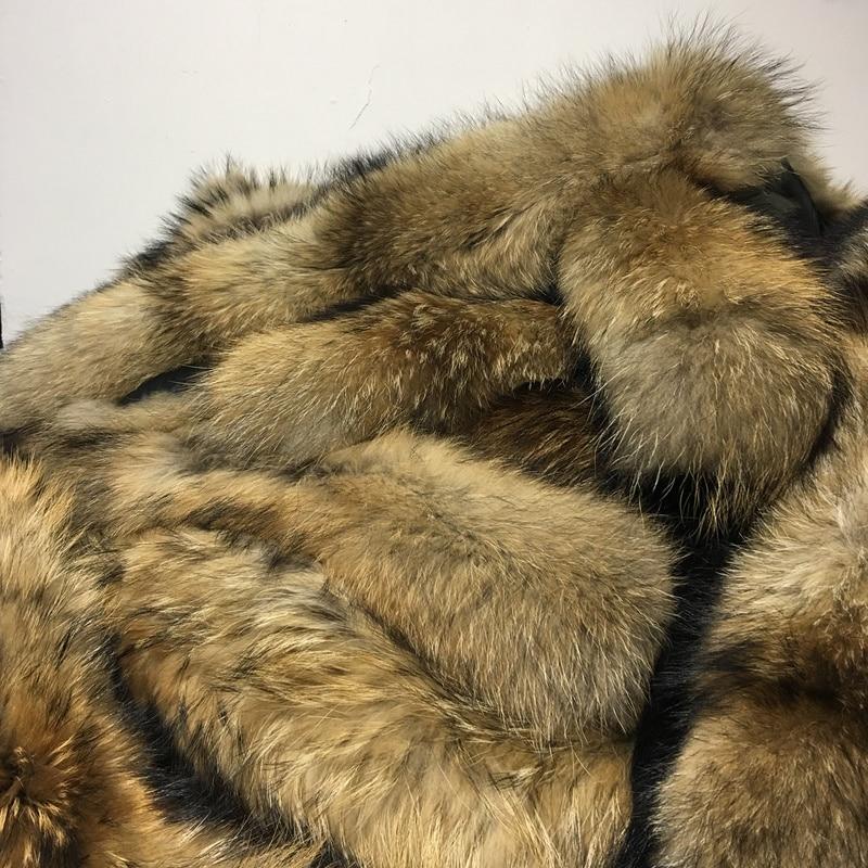 Real Fur Jacket Detachable Collar Scarfs Women Winter Coat Fur Collar Luxury Raccoon Fur Winter Neck Warmers C001-80X20cm