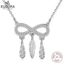 EUDORA 925 argent Sterling clair CZ & infini amour plume pendentif collier confiant colliers pour les femmes bijoux fins D339