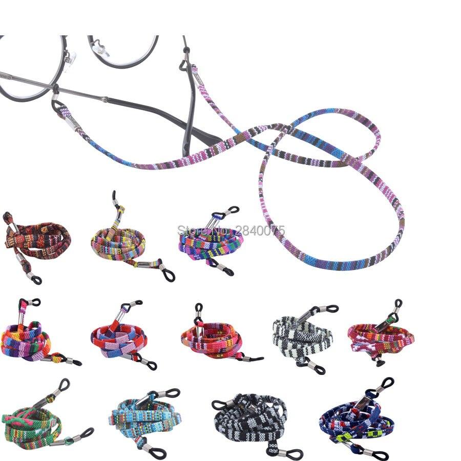 Venta al por menor, gafas de sol retro de algodón, cable para gafas, Correa antideslizante, cordón de cuerda para el cuello, 17 opciones de colores