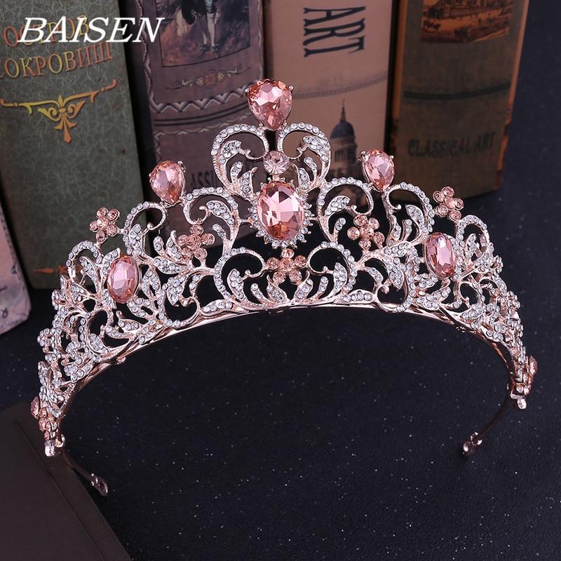 Rosa de cristal Tiara, diadema de cristal de boda corona Accesorios nupciales para el cabello de diamantes de imitación diadema corona boda pelo joyería de la cabeza