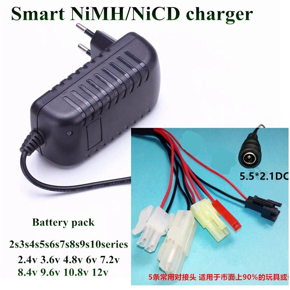 NiMH NiCd inteligente 4,8 V 6V 7,2 V 8,4 V 9,6 V 10,8 V 12V Ni-MH cargador de batería DC macho SM JST 2P 5 uds conector juntos