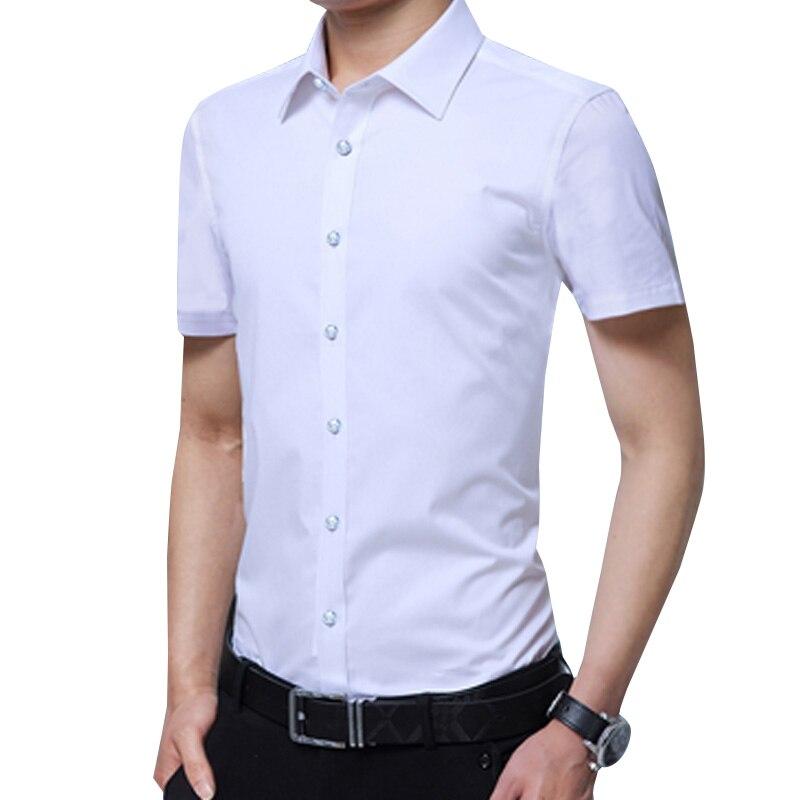 Legible Casual Social Formal shirt Men Short Sleeve Shirt Business Slim Office Shirt male Cotton Mens Dress Shirts white 4XL 5XL