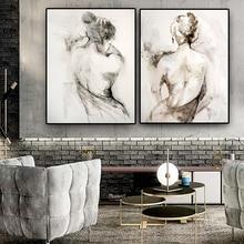 Peinture à lhuile sur toile, abstrait en noir et blanc, Sexy, Art mural scandinave