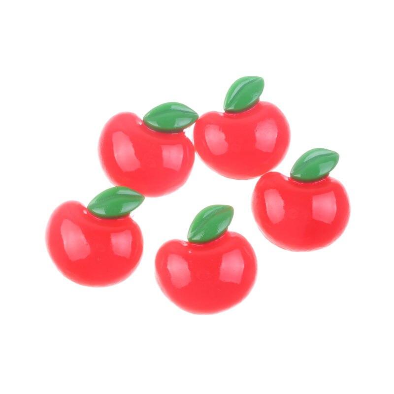 20 Uds. De resina roja, cabujón de manzana, decoración de fondo plano, adornos artesanales para álbum de recortes, accesorios Diy